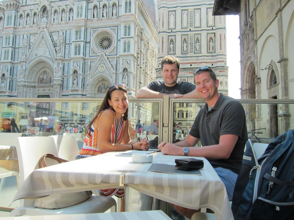 Having coffee in the shadow of Il Duomo.